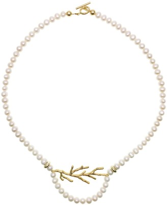 Farra Freshwater Pearls With Fine Gold Plated Brass Coral Charm Necklace