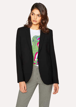 Paul Smith Women's Black Wool-Hopsack Blazer With 'Enso Floral' Lining