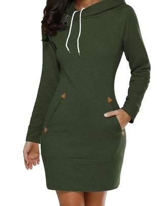c1638ee1d50 Lady night Sweater Winter Warm Women Casual Dress Long Sleeve Hooded Pockets  Autumn Mini Party Dresses