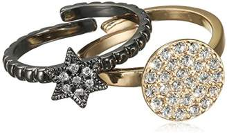 Pilgrim Jewelry Women's Stackable Brass rings with White Glass 321347034