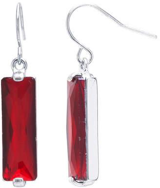 SPARKLE ALLURE Sparkle Allure Sparkle Allure Red Pure Silver Over Brass Rectangular Drop Earrings