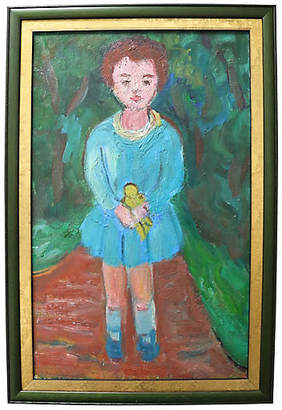 One Kings Lane Vintage 1950s French Portrait of a Girl