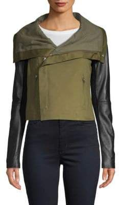 Two-Tone Twill Crop Jacket