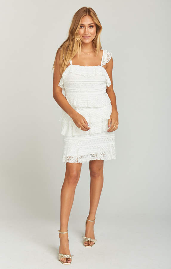 Show Me Your Mumu Tracy Tiered Ruffle Dress ~ One and Only Lace White