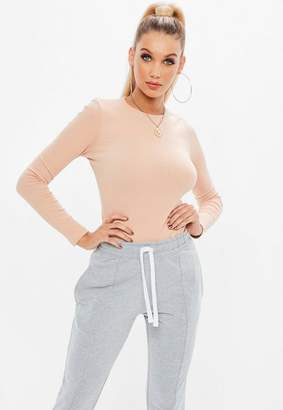 Missguided Pink Crew Neck Ribbed Top