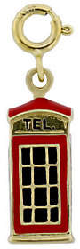 QVC London Phone Booth Enamel Charm, 14K Gold