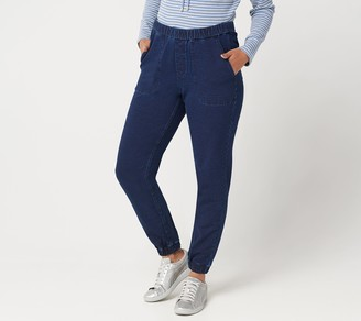 Denim & Co. Petite Comfy Knit Denim Pull-On Jogger Pants
