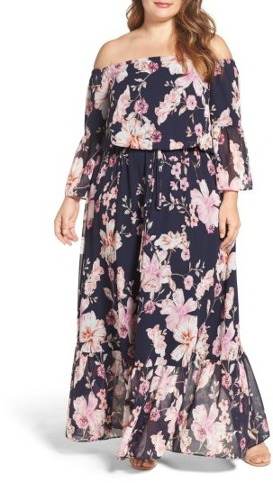 Eliza J Plus Size Women's Bell Sleeve Floral Maxi Dress