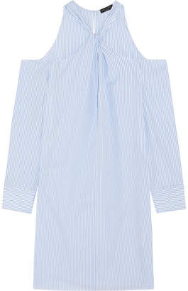 Rag & Bone Collingwood Cold-shoulder Striped Cotton-poplin Mini Dress - Blue