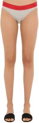 Calvin Klein Underwear Logo Cotton Blend Jersey Bikini Briefs