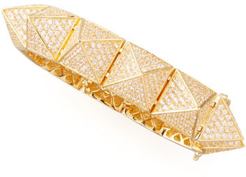Eddie Borgo Large Pave Pyramid Bracelet, Yellow Gold