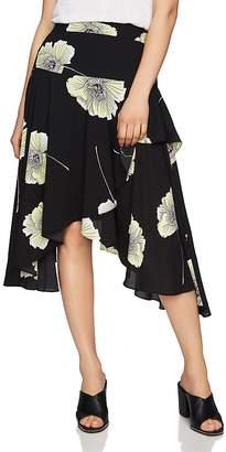 1 STATE 1.STATE Floral Print Asymmetric-Ruffle Midi Skirt