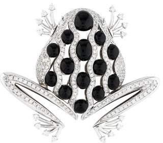 18K Onyx & Diamond Frog Brooch Pin