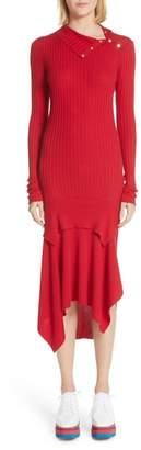 Stella McCartney Handkerchief Hem Ribbed Wool & Silk Dress