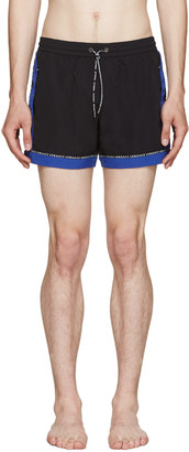 Versace Underwear Black & Blue Swim Shorts $475 thestylecure.com