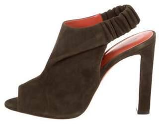 Santoni Slingback Peep-Toe Sandals w/ Tags Olive Slingback Peep-Toe Sandals w/ Tags