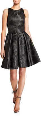Theia Love, Sleeveless Bow-Back Jacquard Mini Cocktail Dress