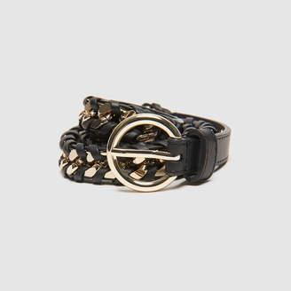 Sandro Gold-tone metal woven belt
