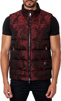 Jared Lang Aspen 2D Camo Zip-Up Puffer Vest, Red