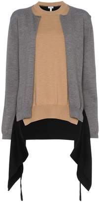Loewe double layer asymmetric wool cardigan