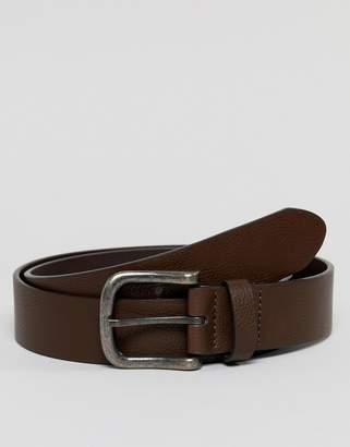 Asos Design DESIGN faux leather wide belt in brown with burnished buckle