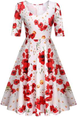 Meaneor Womens Dresses Party Dresses 1950s Vintage Dresses Swing Stretchy Dresses,/M