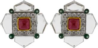 Arunashi Ruby Emerald And Diamond Earrings
