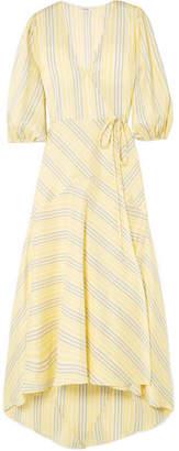 Ganni Striped Silk Midi Dress - Yellow