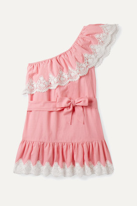 Miguelina Kids - Ages 4 - 12 Summer One-shoulder Crocheted Cotton Dress