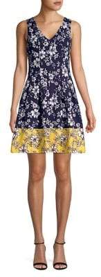 Vince Camuto Floral Pleated Fit-&-Flare Dress