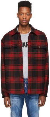 DSQUARED2 Red Dropped Military Fit Shirt