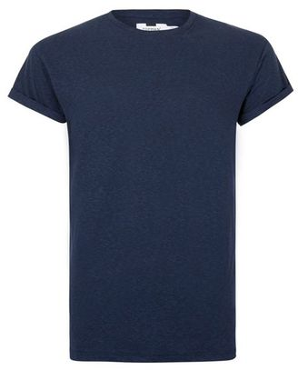Navy Linen Mix Muscle Fit T-Shirt $20 thestylecure.com