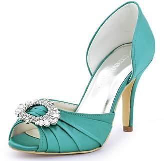 1d8d582e77a0a9 Elegantpark A2136 Women Satin Peep Toe Ruched Rhinestones Pumps High Heel  Evening Prom Shoes Blue US