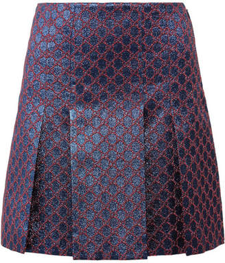 Gucci Pleated Metallic Jacquard Mini Skirt - Blue