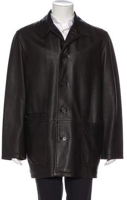 Hermes Leather Button-Up Coat