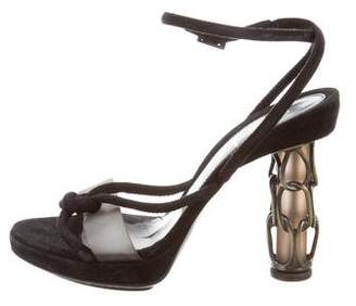 Fendi Leather Ankle-Strap Sandals