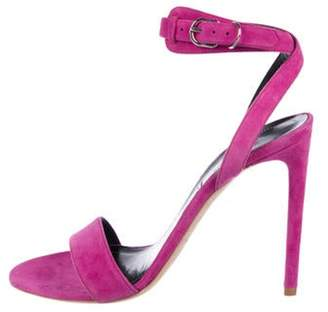 Balenciaga Suede Ankle Strap Sandals Magenta Suede Ankle Strap Sandals