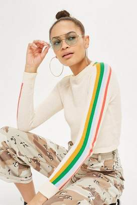 Topshop Rainbow sleeve detail knitted top
