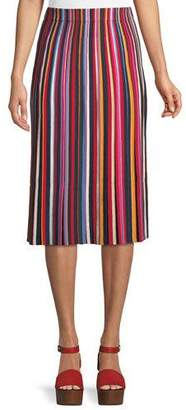 Tory Burch Ellie Long Skirt w/ Pleated Stripes