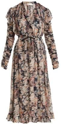 Zimmermann Tempest Floral Midi Dress - Womens - Black Print