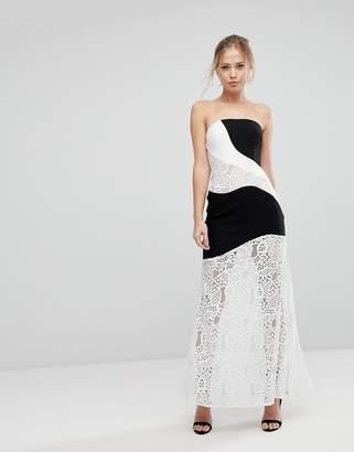Aijek Maxi Dress With Monochrome And Lace Detail