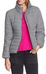 Vince Camuto Houndstooth Check Puffer Jacket
