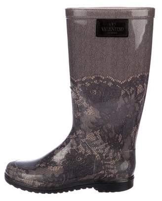 Valentino Lace Print Rain Boots