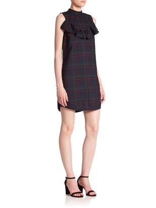 Suno Wool & Silk Ruffle Tunic Dress