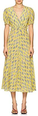 Saloni Women's Lea Algae-Print Silk Midi-Dress - Yellow