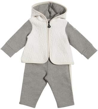 Moncler Faux Shearling Sweatshirt & Cotton Pants