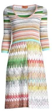 Missoni Pinetto Three-Quarter Sleeve Knit A-Line Sweater Dress