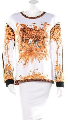 Balmain Leopard Print Crew Neck Sweatshirt