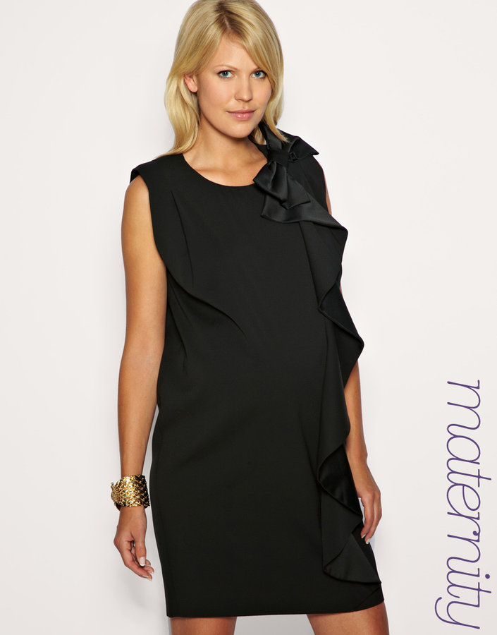 French Connection Maternity Bow Shoulder Shift Dress Exclusive to ASOS