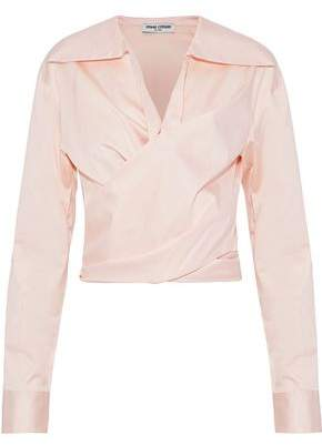 Opening Ceremony Wrap-Effect Cotton-Blend Sateen Shirt